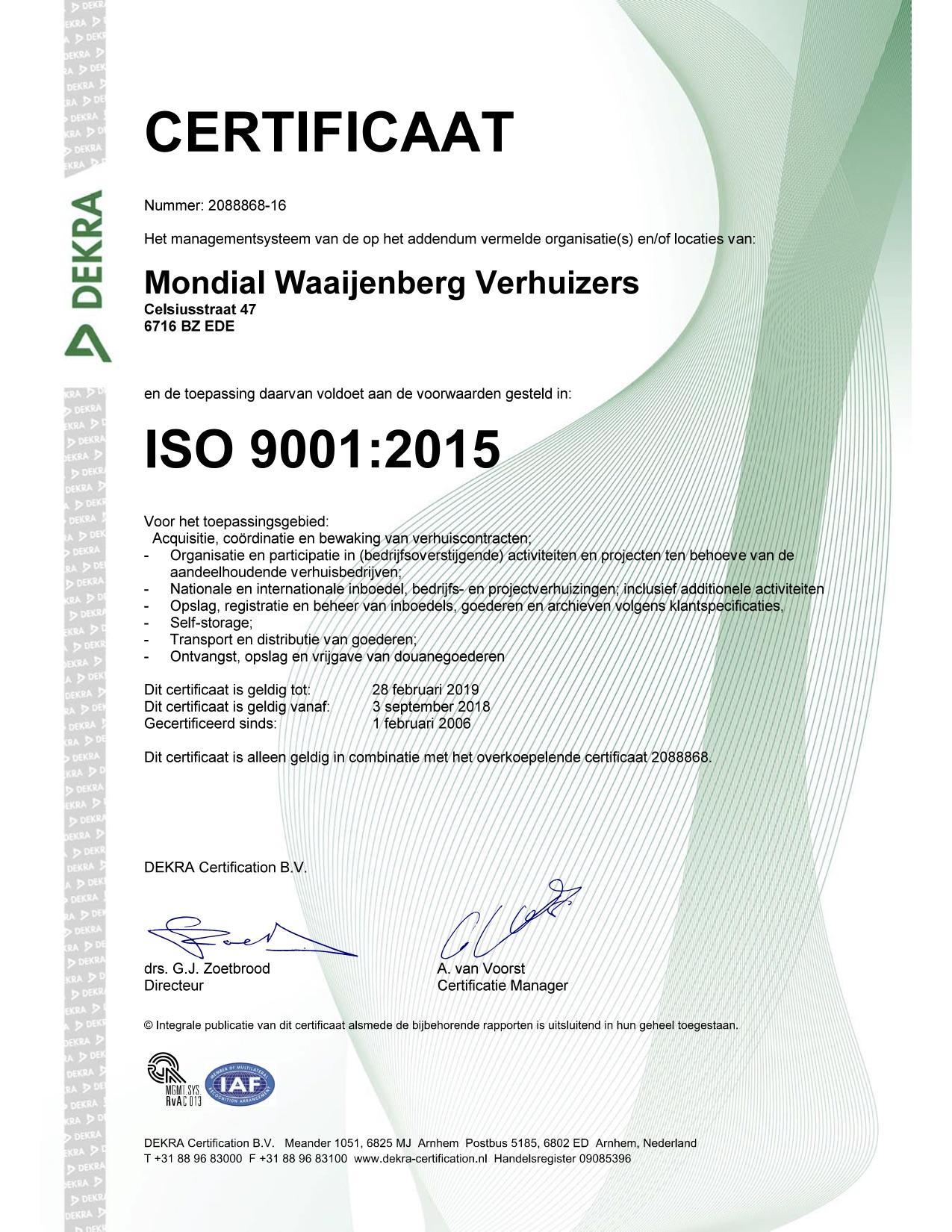 Mondial Waaijenberg Verhuizers behaalt ISO 9001, ISO 14001 en OHSAS 18001 certificaten